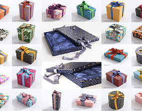 25 unique gift boxes with ribbons holiday 3D