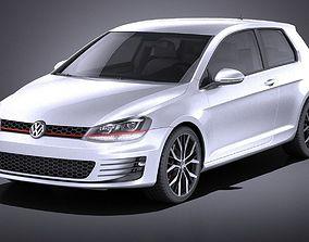Volkswagen Golf VII GTI 2014 VRAY 3D model