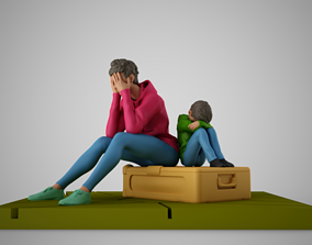 3D printable model Mother and Child at Station
