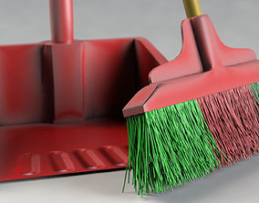 3D model broom and dustpan