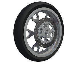 BLack Motorcycle Wheel 3D model
