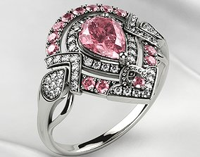 Pink Sapphire Pear Gold Ring 3D print model