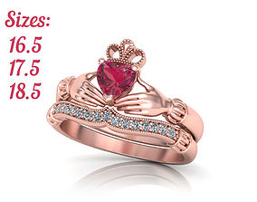 3D print model Wedding Set Claddagh Engagement ring with 3