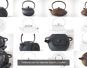 Traditional cast iron Japanese teapots 3D