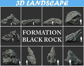 cliff 3D Black Sharp Rock Formation Pack 191227