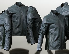3D model Mens Clothing Black Leather Jacket Closed