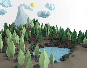 Low poly lanscape mountain hill tree lake rock realtime 3