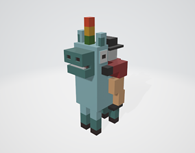 Crossy Road type game Unicorn and Rider 3D model