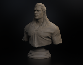 The Witcher Bust 3D print model