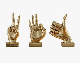 Metallic Hand 3 Piece Figurine Set 3D model