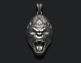 3D printable model Roaring angry gorilla pendant