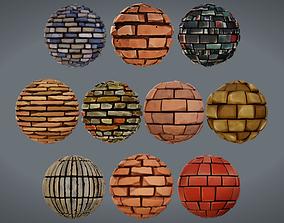 Stylized PBR Brick Textures 3D
