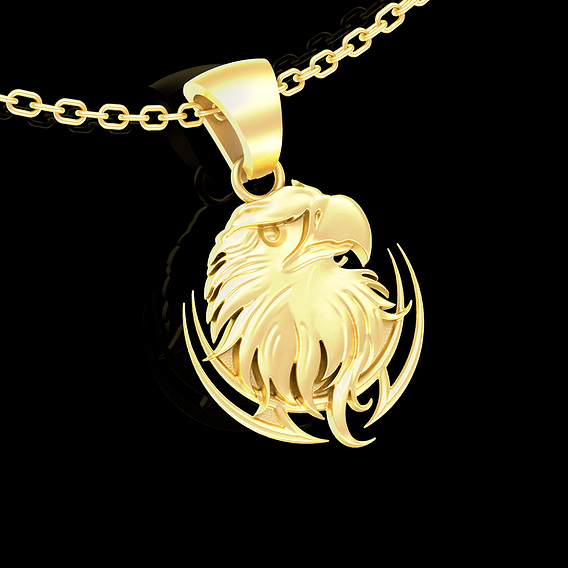 Eagle Bust Pendant jewelry Gold 3D print model