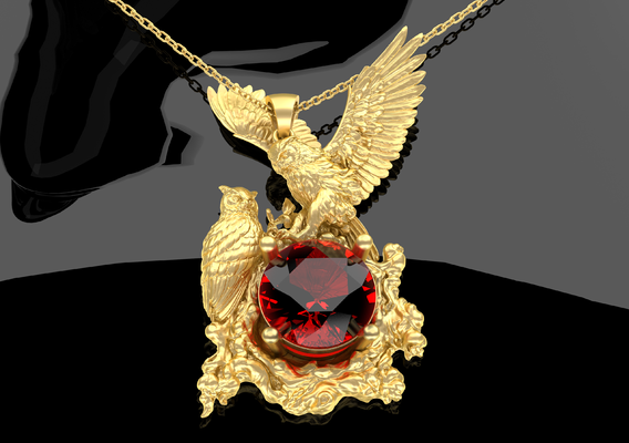 Male Female Owls Pendant Jewelry Gold 3D print model