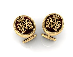 Cufflinks with initials AM 3D printable model
