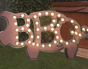 3D asset VR / AR ready BBQ The Pig Sign
