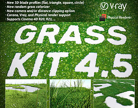 3D model grass Grass Kit v 4-5 for Cinema 4D R20 R21