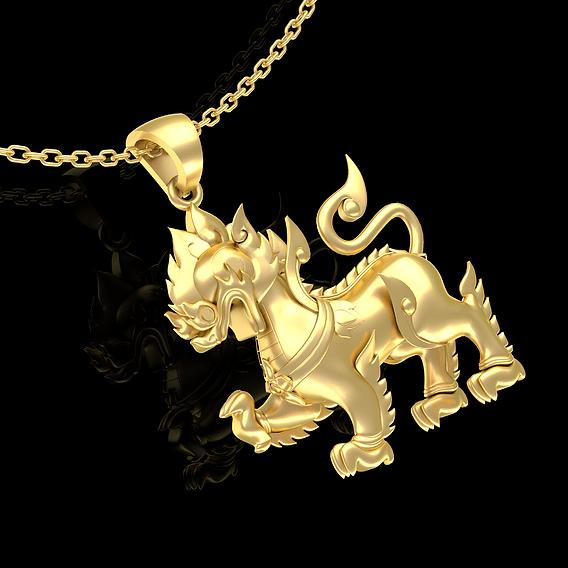 Singha sculpture Pendant Jewelry Gold 3D print model
