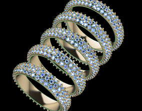 Dainty Cluster Diamond Infinity Band Mix 3D print model 5
