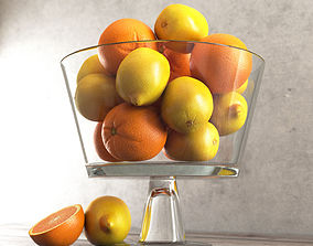 3D Lemons and Oranges in a Glass Jar