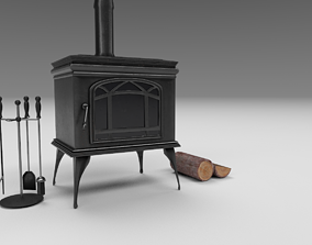 Fireplace and Logs and Equipment 3D model
