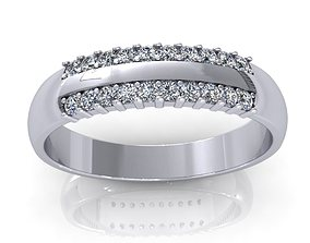 3D model Two Row Diamond Ring