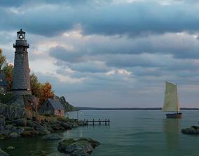 Lighthouse Sunset 3D