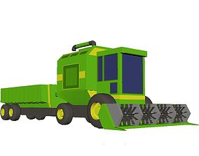 Combine Harvester Low Poly 3D asset realtime