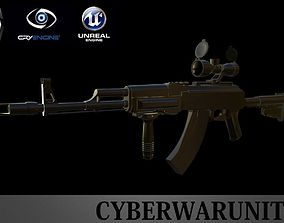 3D asset AK 47 Tactical with scope