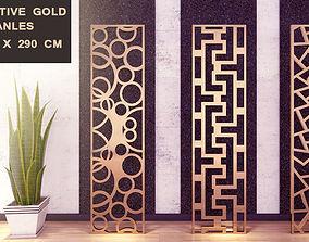 3D model 3 Decorative Gold Panels