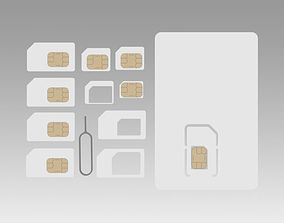 3D model Sim card collection