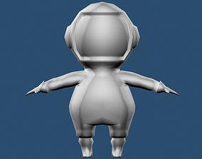 Cartoon astronaut 3D model