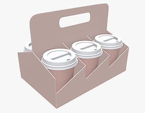 Recycled paper coffee cup lid and holder 02 3D