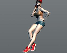 The girl leaned on the car body 3D printable model