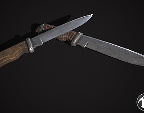 3D model low-poly PBR Knife