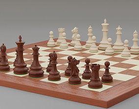 3D model Chess pieces with rigged and posed