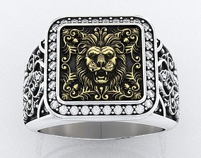 Stylish ring with patterns and lion 257 3D print model