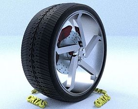 3D ORTAS CAR RIM 39 GAME READY RIM TIRE AND DISC
