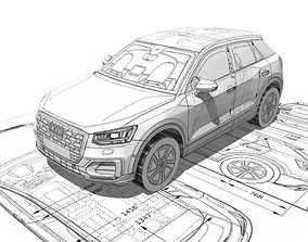 low-poly Audi Q2 3d blueprint