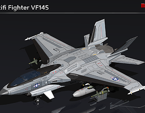 3D asset low-poly Scifi Fighter VF145