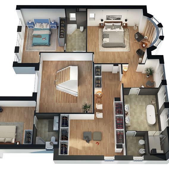 3D Floor plan | American luxury cottage house