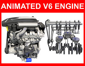 Animated V6 Engine 3D