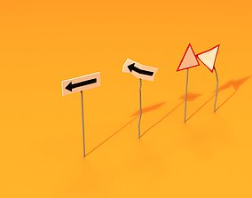 3D asset Post Apocalyptic Road Signs