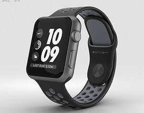 3D Apple Watch Nike 38mm Space Gray Aluminum Case Black 1