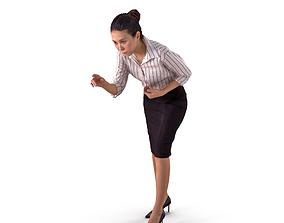 3D asset Asian Business Woman Point