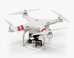 DJI Phantom 2 Quadcopter with GoPro HERO3 3D model