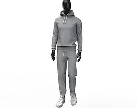 Men tracksuit sport clothing hoodie sweatpants 3D model