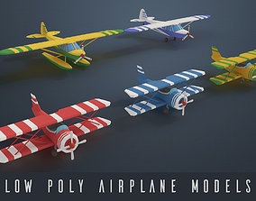 Low poly airplanes 3D asset