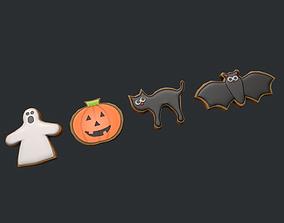 Halloween Cookies - Cat - Bat - Ghost - Pumpkin 3D model
