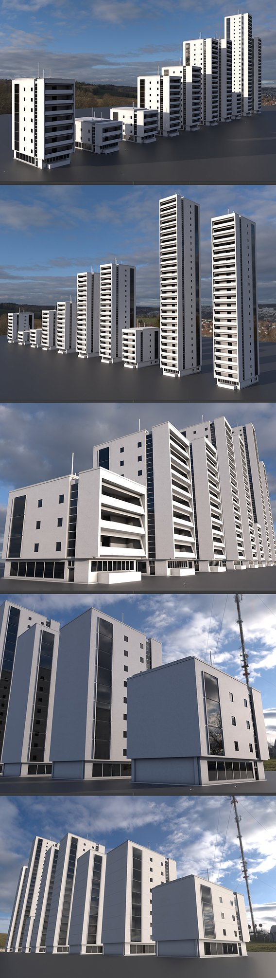 Residential Buildings Set upgrade for a use in Blender 2-91